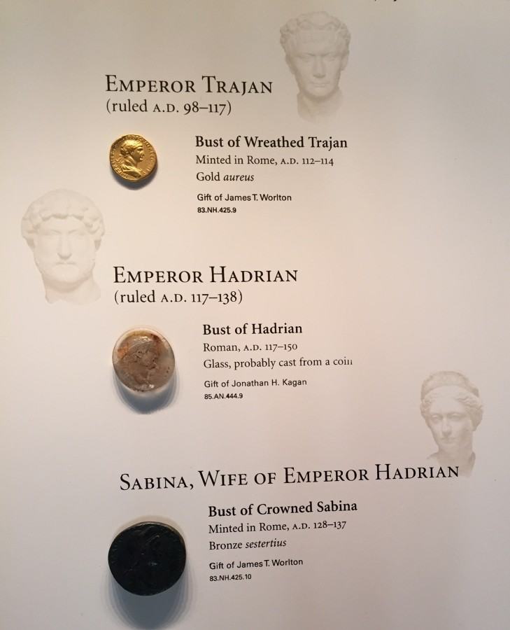 Ancient Roman coins on display.