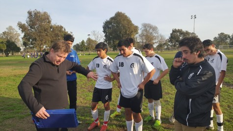 The boys managed to get a win with Coach Launius's leadership. Photo taken by Richard Estrella.