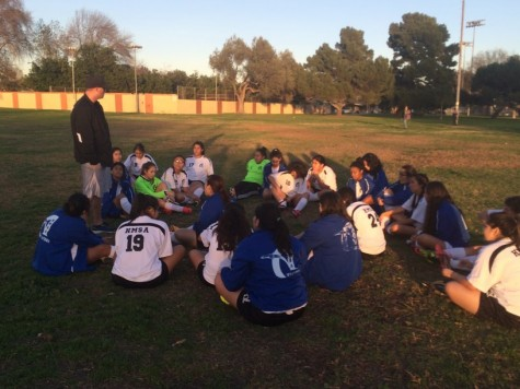 At half time, Coach Kircher talked to the Aviators and changed the second half's momentum. Photo taken by Miguel Sanchez.