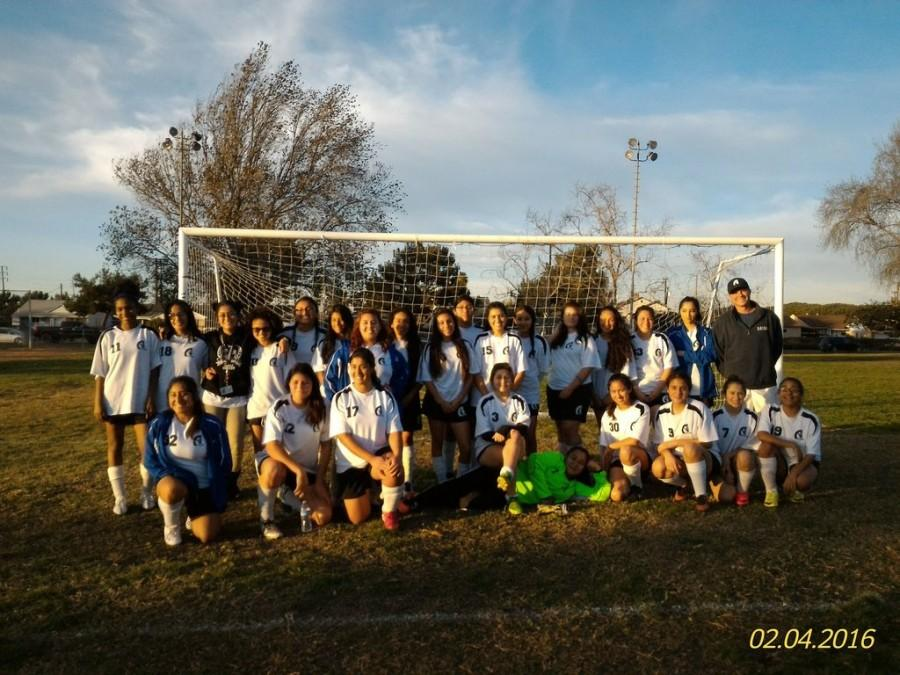 The+girls%27+soccer+team+showed+great+improvement+from+last+season.+Photo+provided+by+David+Kircher.