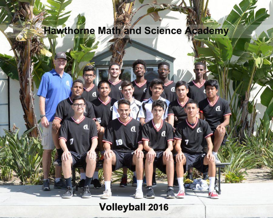 The boys' volleyball team pose for a team photo. Photo provided by Suzanne Launius.