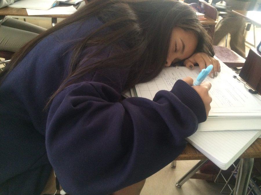Dramatization of a student's lack of sleep, starring Hazel C.