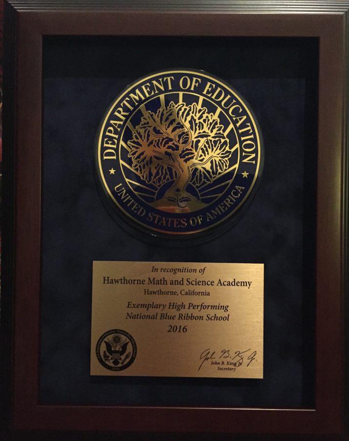 Close up of the award. Photo via Ms. Enger