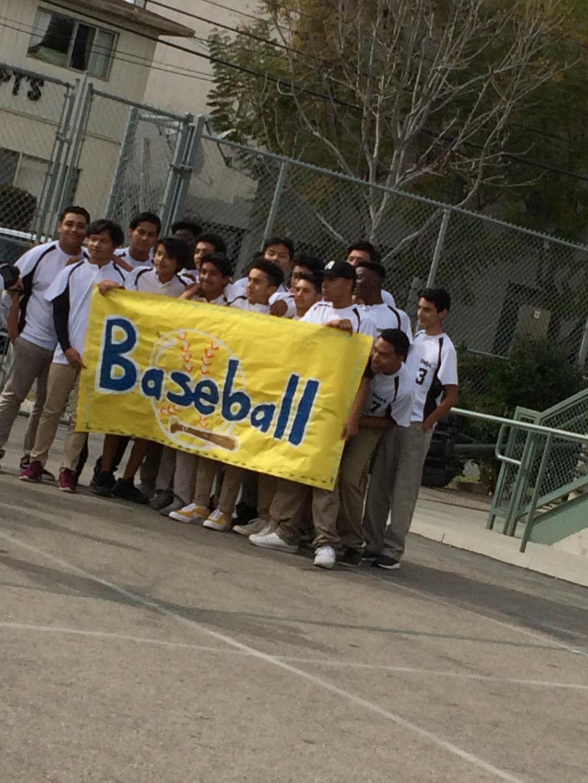 Baseball team in their 2018 season Pep Rally (Photo Source: Xochitl Arquieta)